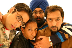 Meet The Magoons. Image shows from L to R: Surjit (Sanjeev Kohli), Paul (Paul Sharma), Hamish (Hardeep Singh Kohli), Nitin (Nitin Ganatra). Copyright: IWC Media.