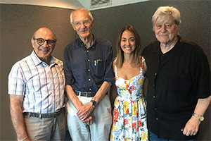 Michael Frayn's Magic Mobile. Image shows from L to R: David Suchet, Michael Frayn, Susannah Fielding, Martin Jarvis. Copyright: Jarvis and Ayres Productions.