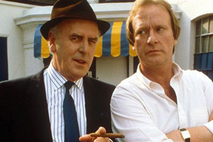 Minder. Image shows from L to R: Arthur Daley (George Cole), Terry (Dennis Waterman).