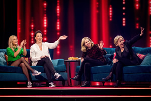 Miranda: My Such Fun Celebration. Image shows from L to R: Sarah Hadland, Miranda Hart, Sally Phillips, Patricia Hodge. Copyright: Monkey Kingdom.