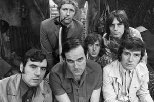Monty Python group. Image shows from L to R: Graham Chapman, Terry Gilliam, Peter Titheradge, Terry Jones, Carol Cleveland, Eric Idle.