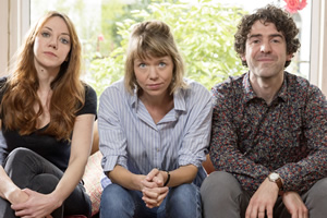 Motherland. Image shows from L to R: Liz (Diane Morgan), Julia (Anna Maxwell Martin), Kevin (Paul Ready).
