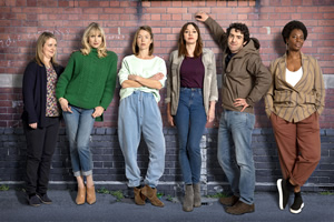 Motherland. Image shows from L to R: Anne (Philippa Dunne), Amanda (Lucy Punch), Julia (Anna Maxwell Martin), Liz (Diane Morgan), Kevin (Paul Ready), Meg (Tanya Moodie).