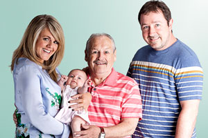 Mount Pleasant. Image shows from L to R: Lisa Johnson (Sally Lindsay), Barry Harris (Bobby Ball), Dan Johnson (Daniel Ryan). Copyright: Tiger Aspect Productions.
