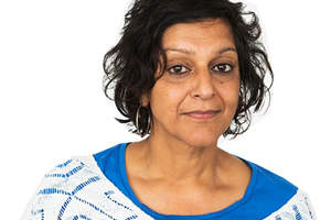 Mrs Sidhu Investigates. Mrs Sidhu (Meera Syal). Copyright: ABsoLuTeLy Productions.