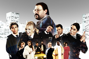 Murder In Successville. Image shows from L to R: George Shelley, Emma Bunton, DI Sleet (Tom Davis), Chris Kamara, Mark Wright, Kimberly Wyatt.