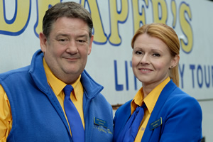 Murder On The Blackpool Express. Image shows from L to R: Terry (Johnny Vegas), Gemma (Sian Gibson).