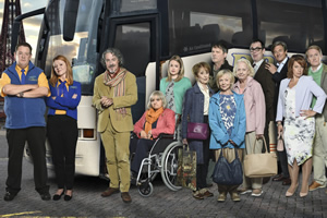 Murder On The Blackpool Express. Image shows from L to R: Terry (Johnny Vegas), Gemma (Sian Gibson), David Van Der Clane (Griff Rhys Jones), Moira (Nina Wadia), Laura (Kimberley Nixon), Peggy (Una Stubbs), Graham (Mark Heap), Unknown, Mildred (Sheila Reid), Marge (Susie Blake), Kevin (Kevin Eldon), Doc (Nigel Havers), Grace (Katy Cavanagh), George (Matthew Cottle).