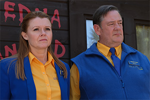 Murder, They Hope. Image shows from L to R: Gemma (Sian Gibson), Terry (Johnny Vegas).