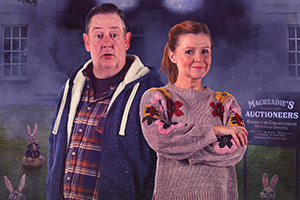 Murder, They Hope. Image shows from L to R: Terry (Johnny Vegas), Gemma (Sian Gibson). Copyright: Shiny Button Productions.