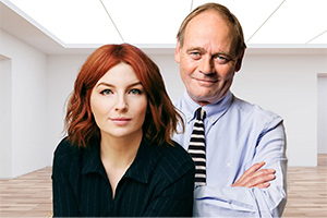 The Museum Of Curiosity. Image shows from L to R: Alice Levine, John Lloyd. Copyright: BBC.
