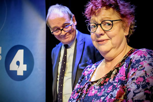 The Museum Of Curiosity. Image shows from L to R: John Lloyd, Jo Brand. Copyright: BBC.
