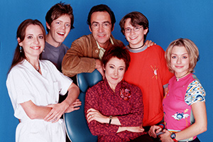 My Family. Image shows from L to R: Brigitte McKay (Daisy Donovan), Nick Harper (Kris Marshall), Ben Harper (Robert Lindsay), Susan Harper (Zoë Wanamaker), Michael Harper (Gabriel Thomson), Janey Harper (Daniela Denby-Ashe).