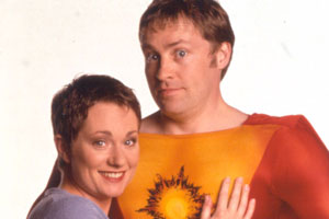 My Hero. Image shows from L to R: Janet Dawkins (Emily Joyce), George Sunday (Ardal O'Hanlon). Copyright: Big Bear Films.