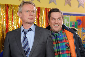 Nativity 3: Dude, Where's My Donkey?!. Image shows from L to R: Mr Shepherd (Martin Clunes), Mr Poppy (Marc Wootton). Copyright: Mirrorball Films.