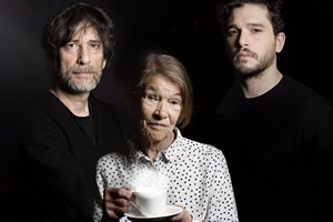 Neil Gaiman's Chivalry. Image shows from L to R: Neil Gaiman, Mrs Whitaker (Glenda Jackson), Sir Galaad (Kit Harington). Copyright: BBC.