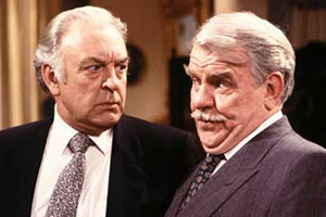 Never The Twain. Image shows from L to R: Simon Peel (Donald Sinden), Oliver Smallbridge (Windsor Davies). Copyright: Thames Television.