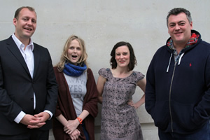Newsjack. Image shows from L to R: Justin Edwards, Pippa Evans, Margaret Cabourn-Smith, Lewis Macleod. Copyright: BBC.
