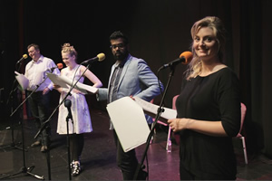 Newsjack. Image shows from L to R: Lewis Macleod, Pippa Evans, Romesh Ranganathan, Morgana Robinson. Copyright: BBC.