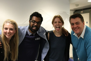 Newsjack. Image shows from L to R: Tessa Coates, Romesh Ranganathan, Ellie White, Lewis Macleod. Copyright: BBC.