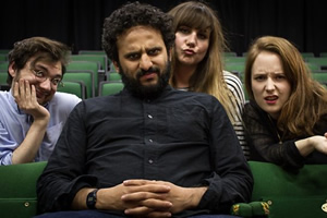 Newsjack. Image shows from L to R: George Fouracres, Nish Kumar, Natasia Demetriou, Freya Parker. Copyright: BBC.