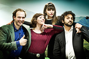 Newsjack. Image shows from L to R: Daniel Barker, Alison Thea-Skot, Natasia Demetriou, Nish Kumar. Copyright: BBC.