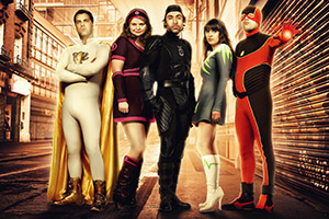 No Heroics. Image shows from L to R: Devlin, aka Excelsor (Patrick Baladi), Jenny, aka She-Force (Rebekah Staton), Don, aka Timebomb (James Lance), Sarah, aka Electroclash (Claire Keelan), Alex, aka The Hotness (Nicholas Burns). Copyright: Tiger Aspect Productions.