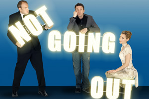 Not Going Out. Image shows from L to R: Tim (Tim Vine), Lee (Lee Mack), Kate (Megan Dodds).