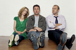 Not Going Out. Image shows from L to R: Kate (Megan Dodds), Lee (Lee Mack), Tim (Tim Vine).