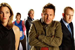 Not Going Out. Image shows from L to R: Lucy (Sally Bretton), Barbara (Miranda Hart), Guy (Simon Dutton), Lee (Lee Mack), Tim (Tim Vine).