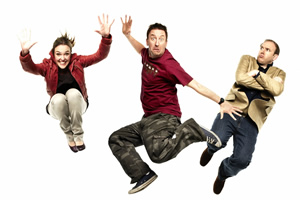 Not Going Out. Image shows from L to R: Lucy (Sally Bretton), Lee (Lee Mack), Tim (Tim Vine).