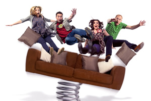 Not Going Out. Image shows from L to R: Lucy (Sally Bretton), Lee (Lee Mack), Daisy (Katy Wix), Tim (Tim Vine).