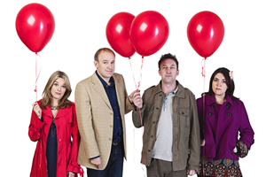 Not Going Out. Image shows from L to R: Lucy (Sally Bretton), Tim (Tim Vine), Lee (Lee Mack), Daisy (Katy Wix).