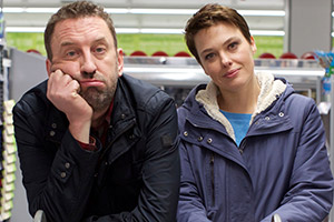 Not Going Out. Image shows from L to R: Lee (Lee Mack), Lucy (Sally Bretton). Copyright: Avalon Television.