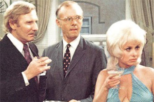 Not Now Darling. Image shows from L to R: Gilbert Bodley (Leslie Phillips), Arnold Crouch (Ray Cooney), Sue Lawson (Barbara Windsor). Copyright: Not Now Films Limited.