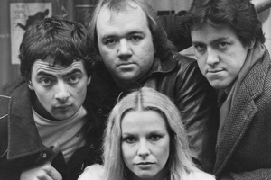 Not The Nine O'Clock News. Image shows from L to R: Rowan Atkinson, Mel Smith, Pamela Stephenson, Griff Rhys Jones. Copyright: Getty Images.