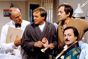 Only When I Laugh. Image shows from L to R: Dr. Gordon Thorpe (Richard Wilson), Roy Figgis (James Bolam), Norman Binns (Christopher Strauli), Archie Glover (Peter Bowles). Copyright: Yorkshire Television.