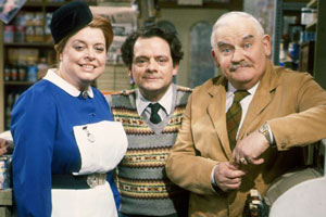 Open All Hours. Image shows from L to R: Nurse Gladys Emmanuel (Lynda Baron), Granville (David Jason), Albert Arkwright (Ronnie Barker). Copyright: BBC.
