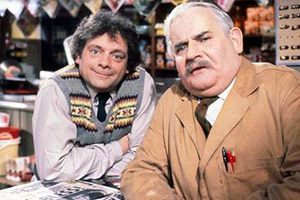 Open All Hours. Image shows from L to R: Granville (David Jason), Albert Arkwright (Ronnie Barker). Copyright: BBC.