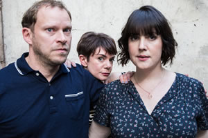 Our Ex-Wife. Image shows from L to R: Jack (Robert Webb), Hillary (Victoria Hamilton), Sara (Melanie Lynskey). Copyright: BBC.