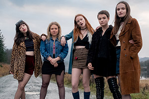 Our Ladies. Image shows from L to R: Kylah (Marli Siu), Manda (Sally Messham), Chell (Rona Morison), Orla (Tallulah Greive), Finnoula (Abigail Lawrie). Copyright: Columbia Pictures.