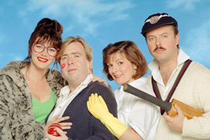 Outside Edge. Image shows from L to R: Maggie Costello (Josie Lawrence), Kevin Costello (Timothy Spall), Miriam Dervish (Brenda Blethyn), Roger Dervish (Robert Daws). Copyright: Central Independent Television.