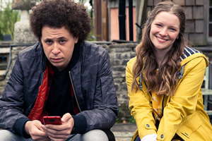 Outsiders. Image shows from L to R: Zak (Connor Allen), Mari (Morfydd Clark).