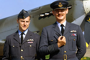 Over Here. Image shows from L to R: Archie Bunting (Samuel West), Group Captain Barker (Martin Clunes). Copyright: BBC.