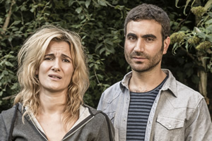 The Pact. Image shows from L to R: Amy (Sarah Solemani), Andy (Brett Goldstein). Copyright: BBC.