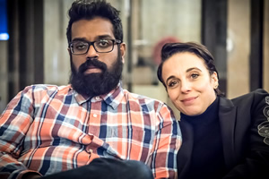 Parental Guidance. Image shows from L to R: Roshan Parera (Romesh Ranganathan), Kate Parera (Amanda Abbington). Copyright: BBC.