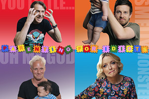 Parenting For Idiots. Image shows from L to R: Jonathan Ross, Jamie Laing, Lauren Laverne, Chris Ramsey.