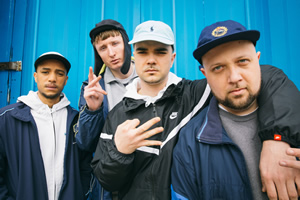 People Just Do Nothing. Image shows from L to R: Decoy (Daniel Sylvester Woolford), Steves (Steve Stamp), Grindah (Allan Mustafa), Beats (Hugo Chegwin). Copyright: Roughcut Television.