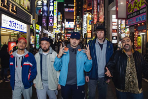 People Just Do Nothing: Big In Japan. Image shows from L to R: Decoy (Daniel Sylvester Woolford), DJ Beats (Hugo Chegwin), MC Grindah (Allan Mustafa), Steves (Steve Stamp), Chabuddy G (Asim Chaudhry).