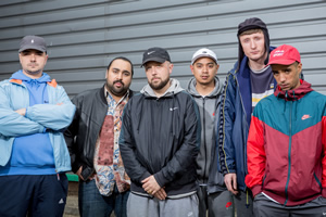 People Just Do Nothing. Image shows from L to R: Grindah (Allan Mustafa), Chabuddy G (Asim Chaudhry), Beats (Hugo Chegwin), Fantasy (Marvin Jay Alvarez), Steves (Steve Stamp), Decoy (Daniel Sylvester Woolford). Copyright: Roughcut Television.